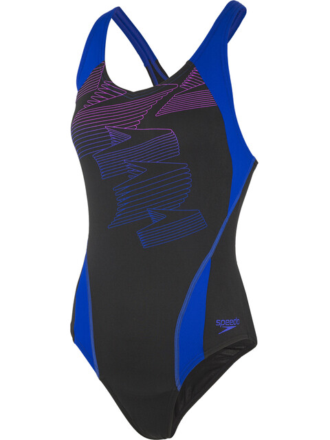 speedo Boom Placement Racerback Swimsuit Women, black/blue